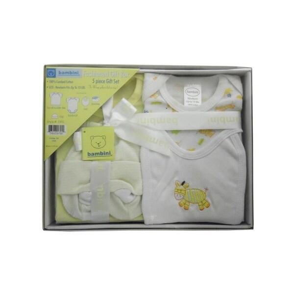 Bambini Baby Yellow Newborn 5-Piece Pastel Interlock Boxed Gift Set