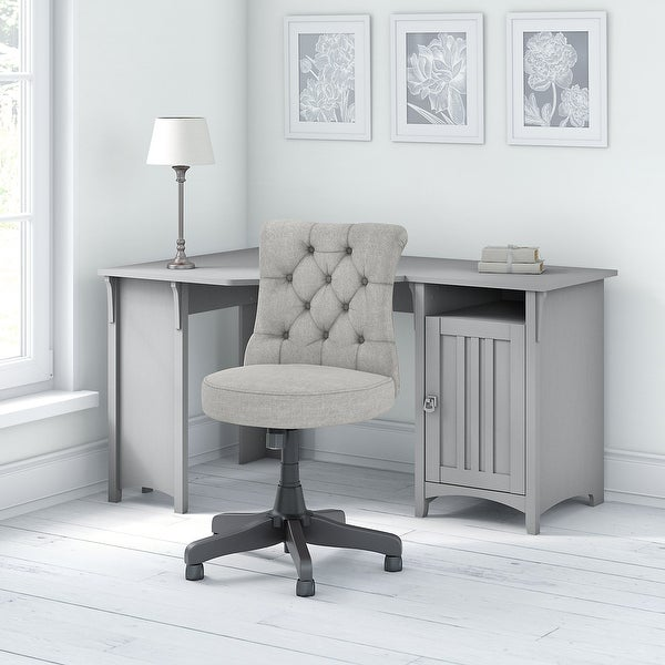 The Gray Barn Lowbridge Corner Work Desk with Mid-back Tufted Office Chair. Opens flyout.