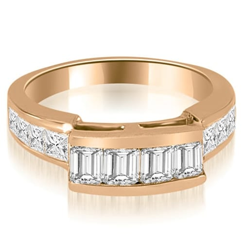 1.40 cttw. 14K Rose Gold Channel Diamond Princess and Emerald Cut Wedding Band