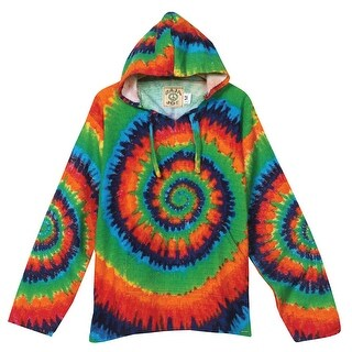Women's ie Dye Baja Shirt - Drawstring Hood Psychedelic Top