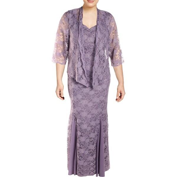 R&M Richards Womens Plus Dress With Jacket Lace 2PC