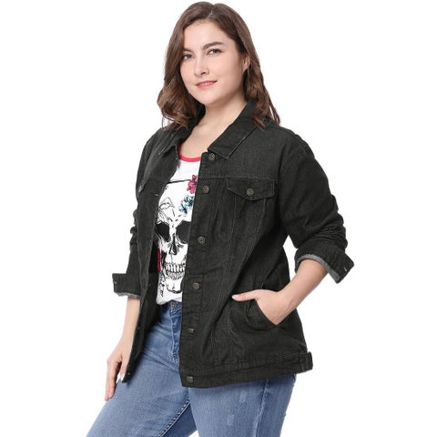 Women Plus Size Stitching Button Front Washed Denim Jacket - Black