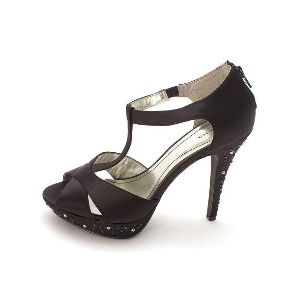 Style & Co. Womens Suki Open Toe T-Strap Platform Pumps, Black, Size 8.5