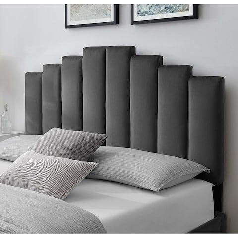 Milwaukee Charcoal Velvet Upholstered Twin Size Headboard