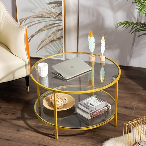 Modern Glass Metal Round Coffee Table for Living Room
