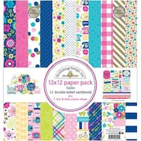 "Doodlebug Double-Sided Paper Pack 12""X12"" 11/Pkg-Hello"