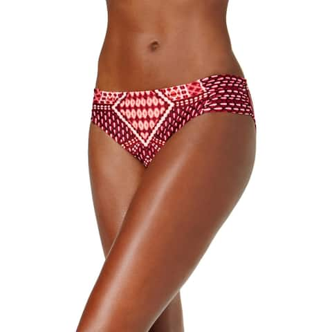 Kenneth Cole New York Womens Printed Hipster Bikini Swim Bottom - Burgundy - M