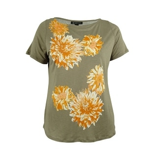 INC International Concepts Women's Sequin Floral Print Top