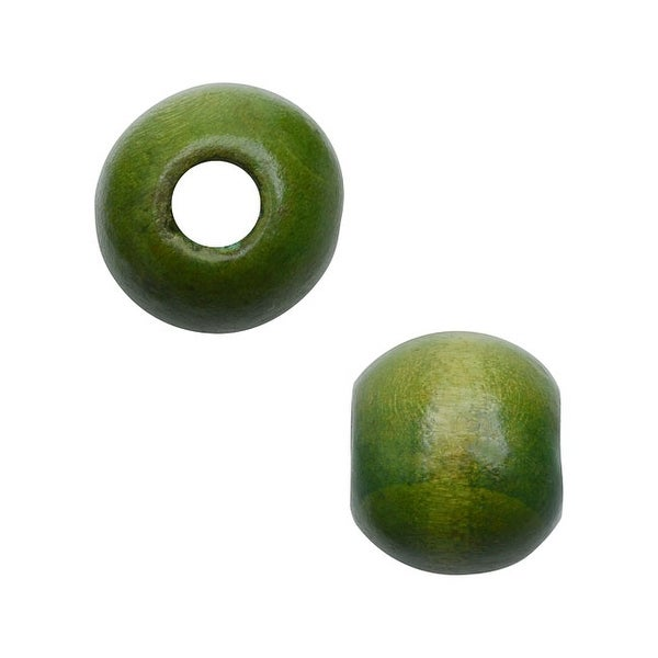 Smooth Large Hole Wood Beads Round With 12mm Diameter 36 Pieces Green