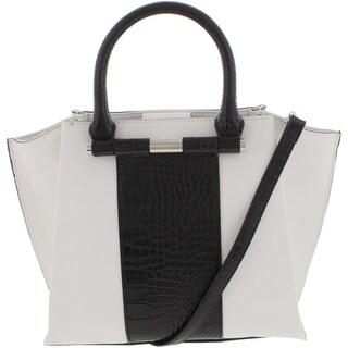 Nine West Womens Divide And Conquer Satchel Handbag Faux Leather Colorblock - MEDIUM