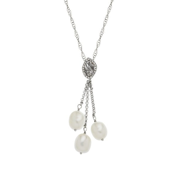 7/8 ct Rutilated Quartz and Freshwater Pearl Lariat Necklace with Diamonds in Sterling Silver - Black