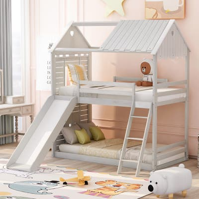 Twin over Twin Bunk Bed Wood Bed with Roof&Window&Slide&Ladder for Kids