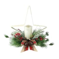 "15"" Decorative Pine Needle, Berry and Jingle Bell Distressed White Star Shaped Candle Holder"