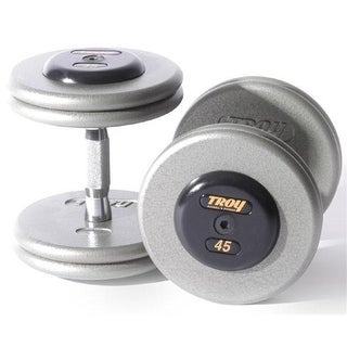 Troy Barbell Pro-Style Fix Dumbbells With Gray Plates And Rubber En