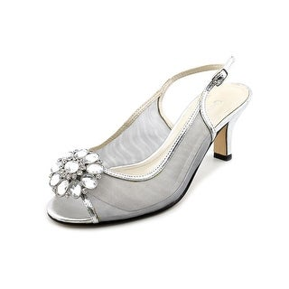 Caparros Savanna Women Open-Toe Synthetic Silver Slingback Heel