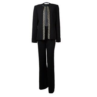 Tahari Women's Bobbi Metallic Embroidered Trim Pant Suit - 0p