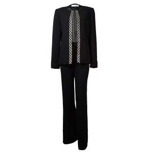 Tahari Women's Bobbi Metallic Embroidered Trim Pant Suit