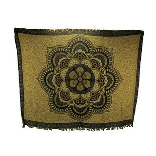 Black and Gold Cotton Fringe Hibiscus Flower Mandala Tapestry