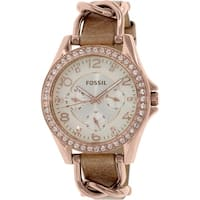 Fossil Women's Riley  Rose-Gold Leather Japanese Quartz Fashion Watch