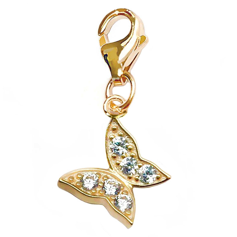 Julieta Jewelry Butterfly CZ Clip-On Charm - Thumbnail 0
