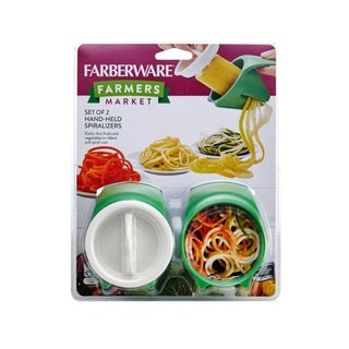 Farberware Farmers Market Set of 2 Green Hand-Held Spiralizers