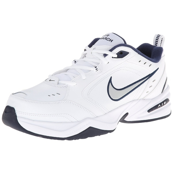 nike air monarch iv training shoe (4e) white black varsity red