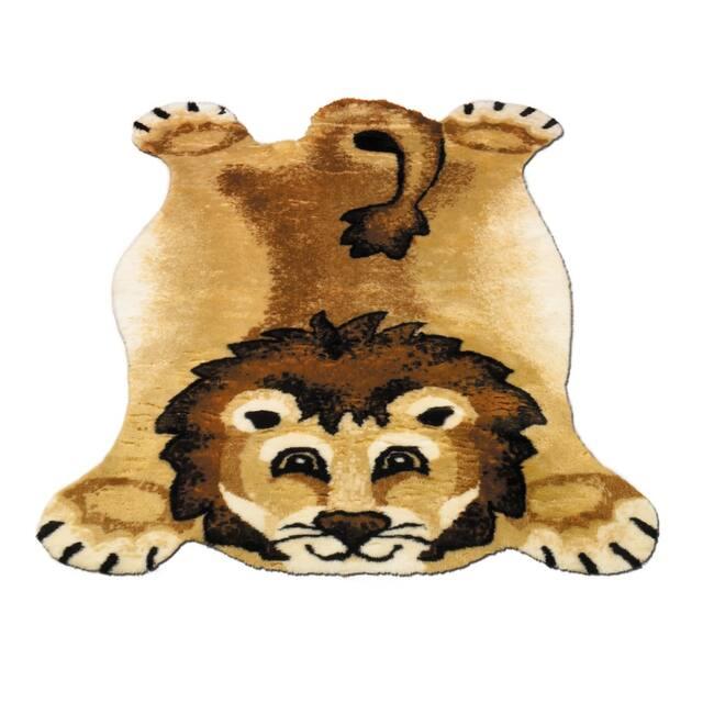 "Walk on Me Kids Playmat Animal Faux Fur/ Faux Sheepskin Machine Washable Area Rug - 4'7"" x 6'7"" - Lion"