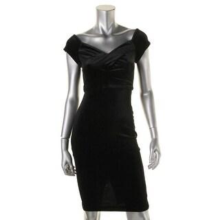 XOXO Womens Velvet Off the Shoulder Cocktail Dress - S