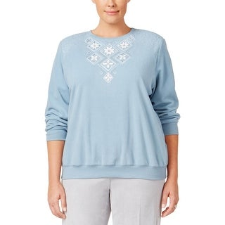 Alfred Dunner Womens Plus Pullover Sweater Embellished Embroidered