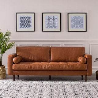 """Link to Carson Carrington Dacke Tufted Leather Sofa - 88.5""""W x 36""""D x 36""""H Similar Items in Living Room Furniture"""