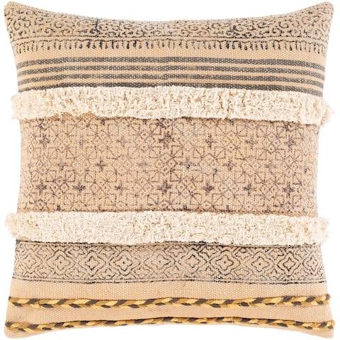Denae Textured Screen Printed Cotton Throw Pillow