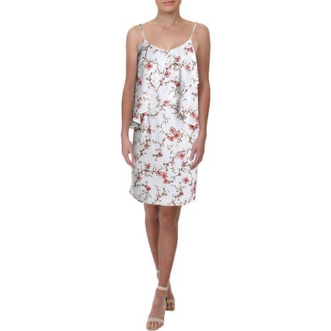 Lauren Ralph Lauren Womens Petites Party Dress Floral Asymmetric - Cream/Peach