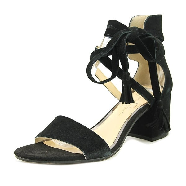 Jessica Simpson Hina Women Open Toe Suede Black Sandals