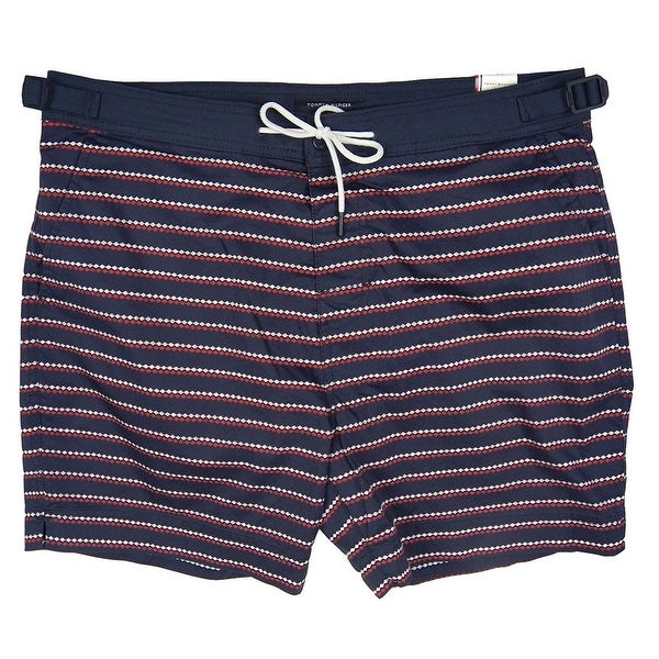 66b46f898b Shop Tommy Hilfiger Mens Stripe Swim Trunks Board Shorts - Free ...