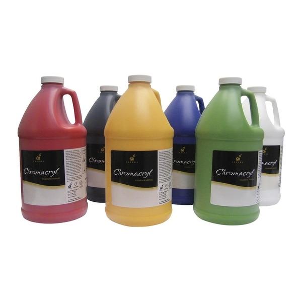 Chromacryl Premium Students Acrylic Paint, Assorted Colors, Half Gallons, Set of 6