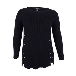 Style & Co. Women's Plus Size Lace-Up Sweater