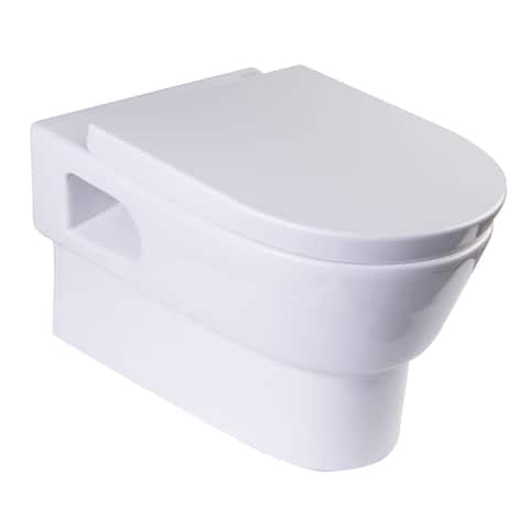 Eago WD332 Elongated Modern Wall Mount Dual Flush Toilet