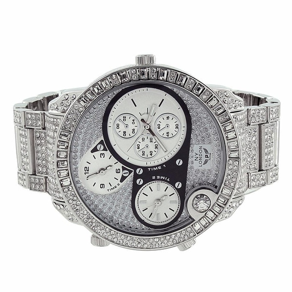 Mens Iced Out Watch NY London Chronograph Analog Display Lab Diamonds Stainless Steel Back