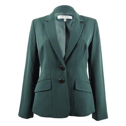 Kasper Women's Plus Size Two-Button Stretch Crepe Jacket - Fir Green