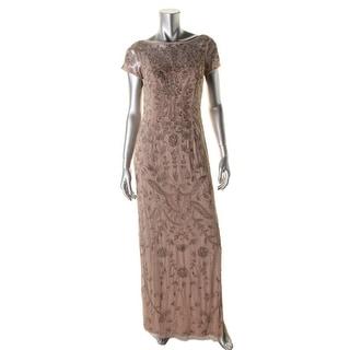 Aidan Mattox Womens Mesh Beaded Evening Dress