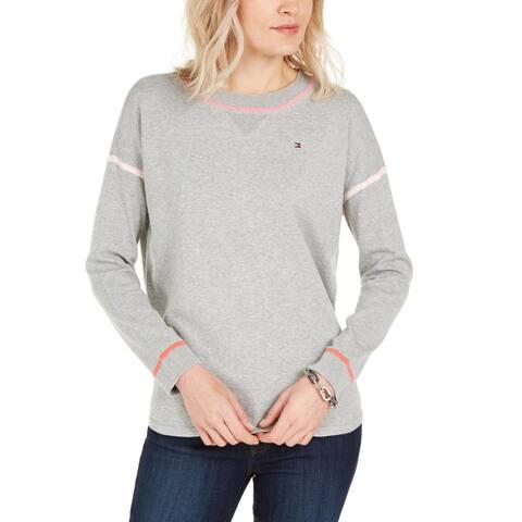 Tommy Hilfiger Womens Crewneck Sweater Striped Round Hem - Medium Heather Grey Multi