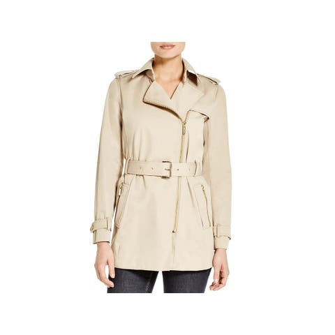 MICHAEL Michael Kors Womens Trench Coat Asymmetric Zip Front