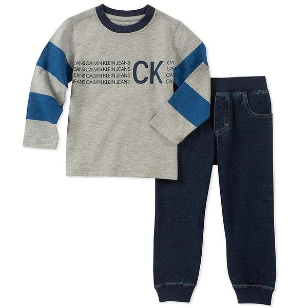 Calvin Klein Kids Boys 2T-4T Long Sleeve Jogger Set - Blue