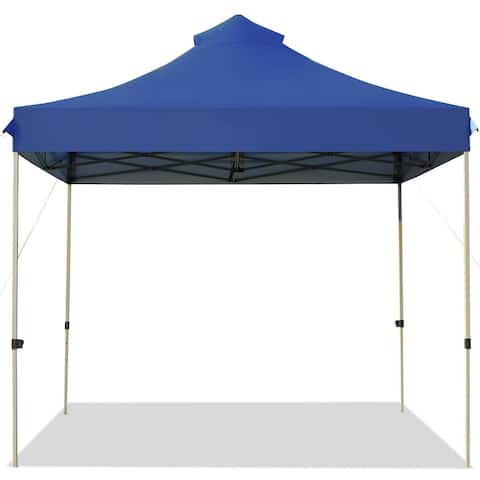 10' x 10' Portable Pop Up Canopy Event Party Tent Adjustable with Roller Bag-Blue - Blue