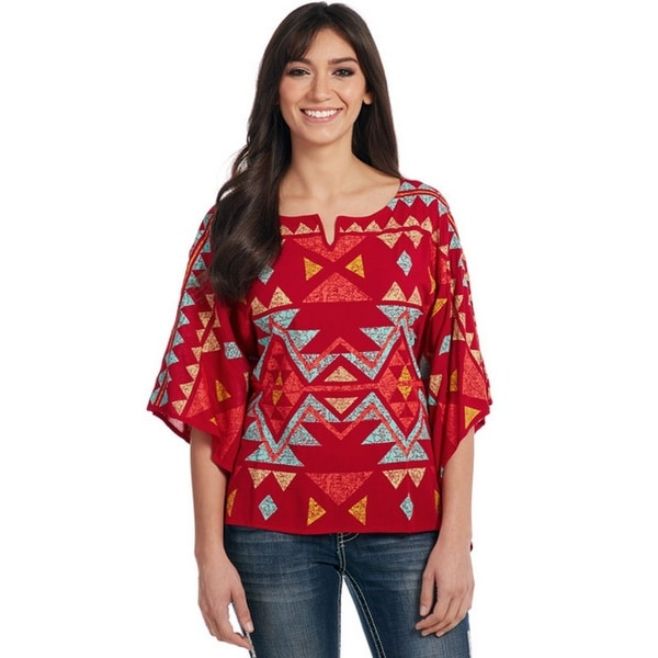 c962f46afca491 Shop Cowgirl Up Western Shirt Womens Bell Sleeves Poncho Aztec - Free  Shipping Today - Overstock - 15444461