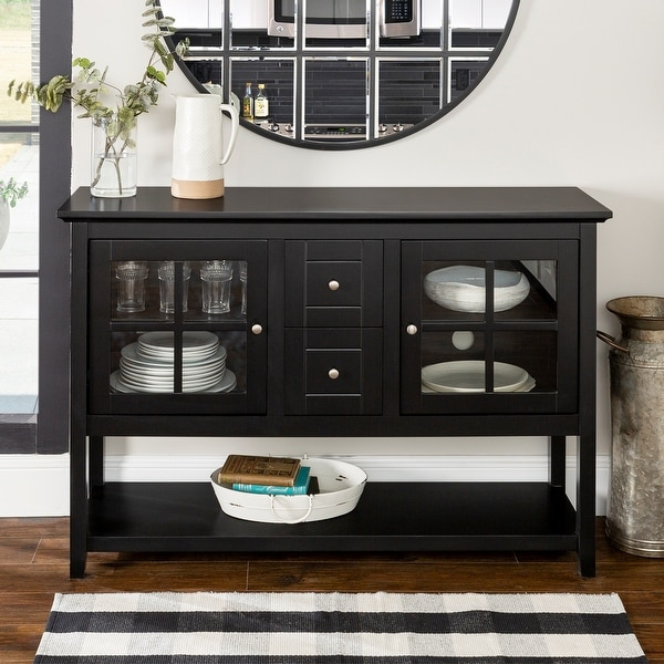 Middlebrook Designs 52-inch Black Buffet Cabinet TV Console. Opens flyout.