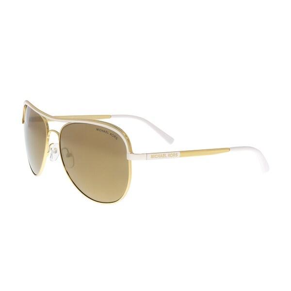 Michael Kors Vivianna I Sonnenbrille Gold und Weiß 11122T Polarisiert 58mm gsFzN2Akw