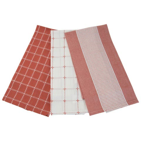 Foreside Home & Garden Set of 3 Red Check Pattern 27 x 18 Inch Woven Kitchen Tea Towels