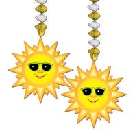 Club Pack of 24 Metallic Gold and Silver Sunburst Dangler Hanging Decorations 30""