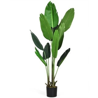 Gymax 5 FT Artificial Tropical Palm Tree Green Indoor-Outdoor Home Decorative Planter